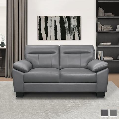 Brun Leather Living Room Loveseat