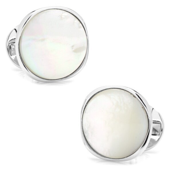 Sterling Silver Classic Formal Mother of Pearl Cufflinks