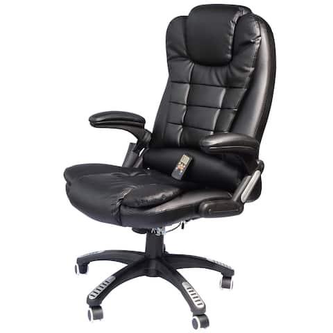 HomCom Black Ergonomic Heated Massage Executive Chair