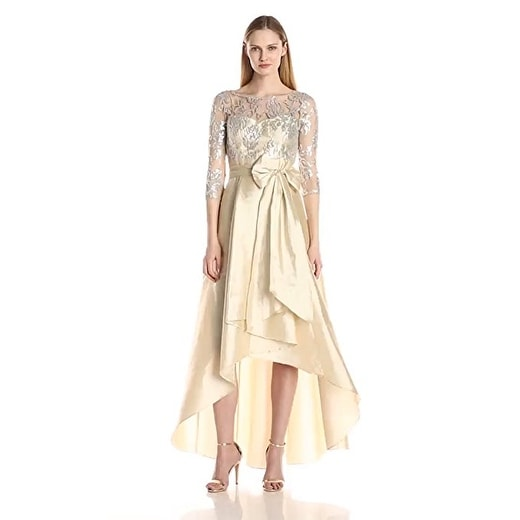 Adrianna Papell Women's Sequin Illusion High-Low Gown with Taffeta Skirt. Opens flyout.