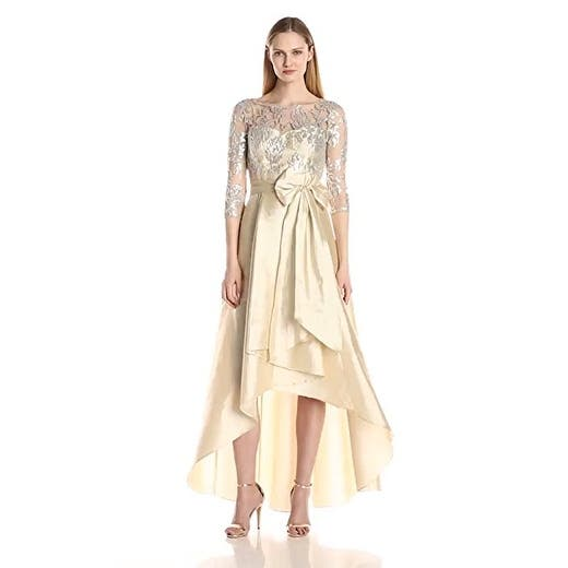 popular design select for genuine 2019 discount sale Adrianna Papell Women's Sequin Illusion High-Low Gown with Taffeta Skirt