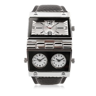Black Leather Silver Metallic Patriot Watch