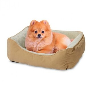 "Bojobo YF89108N Flocking Fabric w/ Plush Fur Small Pet Bed, Tan/White, 24""x18"""