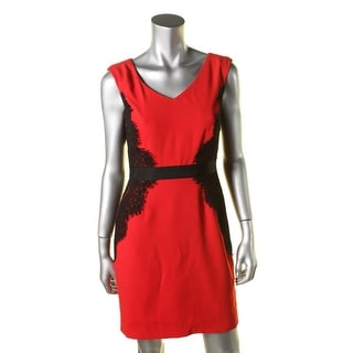 Tahari Womens Petites Lace Trim Sleeveless Party Dress