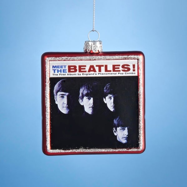 "3.25"" Red Glass ""Meet the Beatles!"" Album Cover Decorative Christmas Ornament"