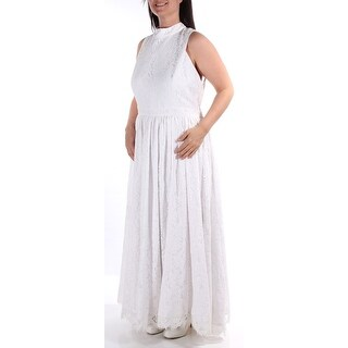 Womens White Sleeveless Maxi Empire Waist Wedding Dress Size: 18