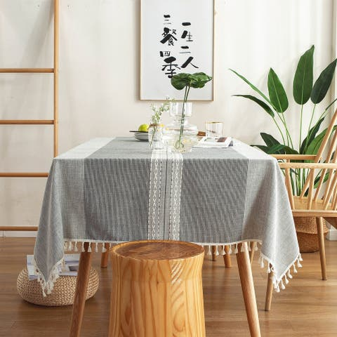 Enova Home Light Grey High Quality Rectangle Cotton and Linen Tablecloth with Tassels