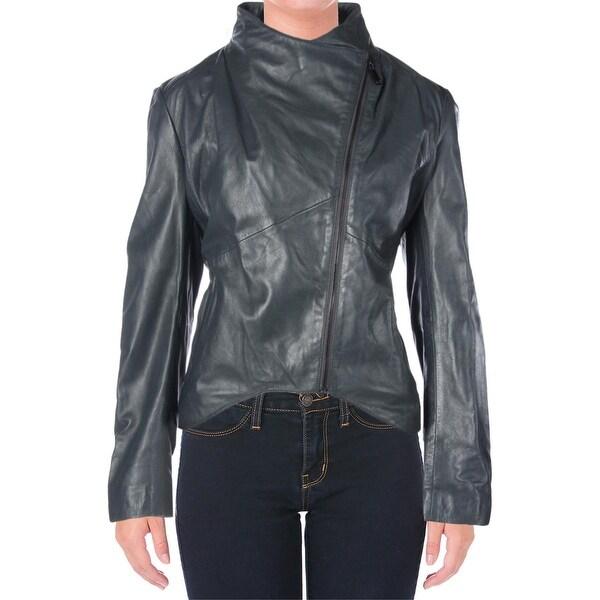 Elie Tahari Womens Beverly Motorcycle Jacket Leather Asymmetric