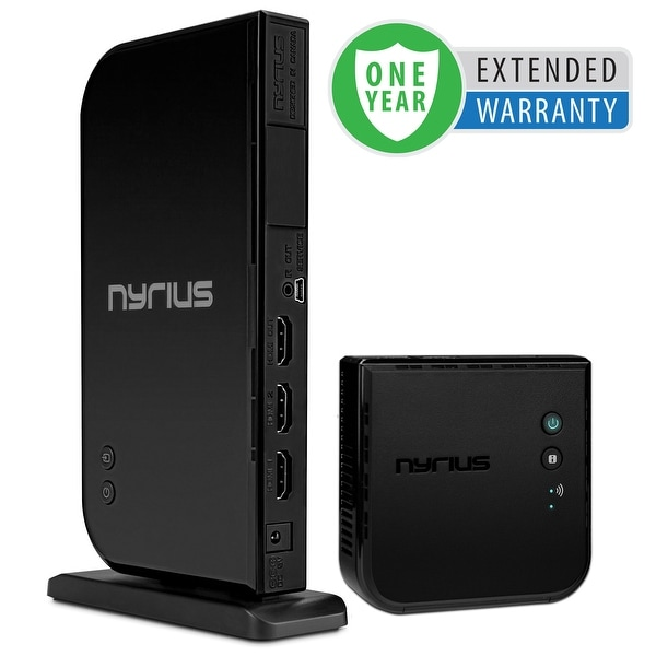 Nyrius Wireless HDMI 2x Input Transmitter & Receiver for Streaming HD 1080p 3D Video - 1 Year Extended Warranty