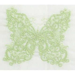 Exquisite Linen Tea Towel with Embroidered Butterfly