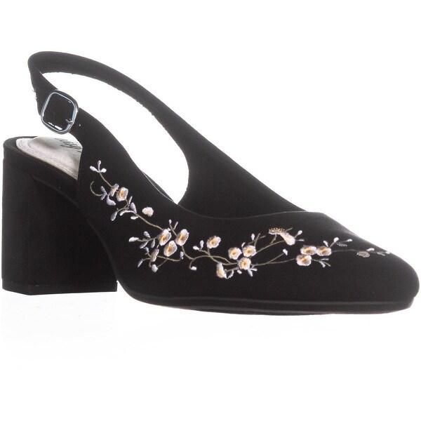 Easy Street Dainty Slingback Heels, Black Suede