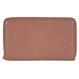Gucci 321117 XL Light Tan Textured Leather Zip Around Travel Wallet Clutch