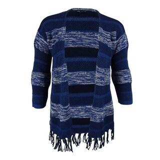 American Living Women's Fringed Striped Sweater Cardigan