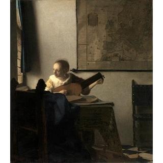 Easy Art Prints Johannes Vermeer's 'Woman with a lute' Premium Canvas Art