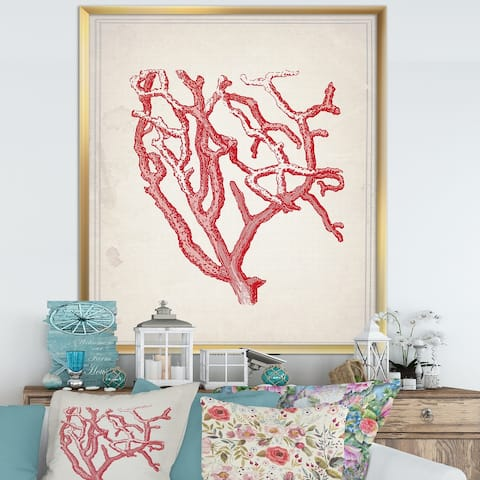 Designart 'Red Coral 2' Nautical & Coastal Framed Art Print