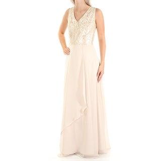 TAHARI Womens New 1425 Beige Sequined Zippered Sleeveless Sheath Dress 4 B+B