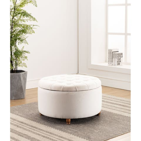 WOVENBYRD Large Round Pintucked Storage Ottoman, Lift off lid