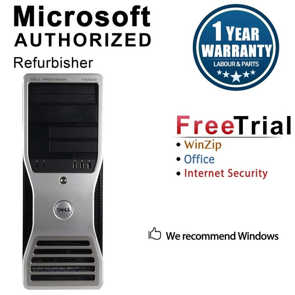 Dell Precision T3400 Workstation Tower Intel Core 2 Duo E7600 3.0G 4GB DDR2 1TB Windows 10 Pro 1 Year Warranty (Refurbished)