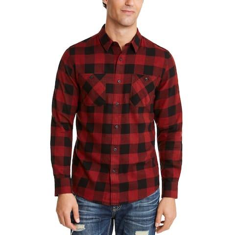 America Rag Men's Austin Check Shirt Red Size Small