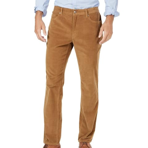 Club Room Mens Pants Golden Brown Size 40x32 Flat Front Stretch Corduroy