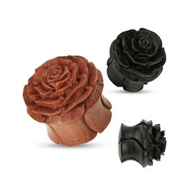 Organic Wood Full Bloom Rosebud Hand Carved Double Flared Plug (Sold Individually)