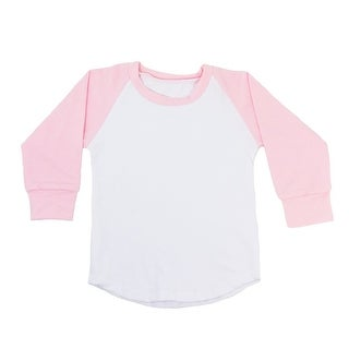 Unisex Baby Light Pink Two Tone Long Sleeve Raglan Baseball T-Shirt
