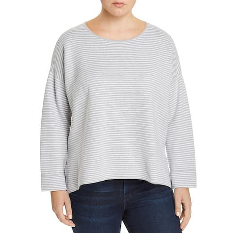 Eileen Fisher Womens Plus Pullover Sweater Organic Cotton Striped - Grey/White