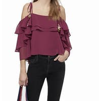 Rebecca Minkoff Purple Womens Size Small S Tiered Sleeve Blouse