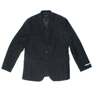 INC NEW Black Mens Size Large L Windowpane Slim Two Button Blazer