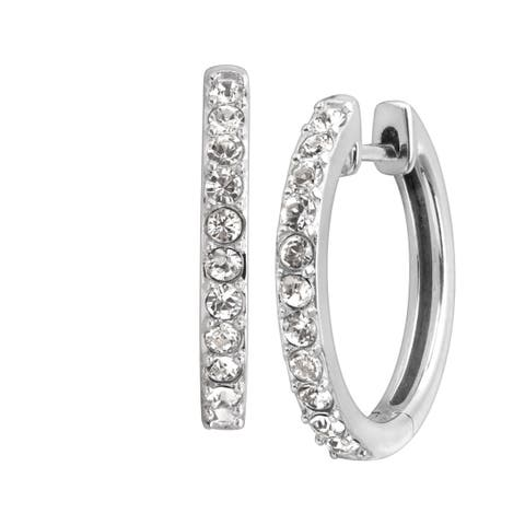 Petite Hoop Earrings with Crystals in Sterling Silver - White