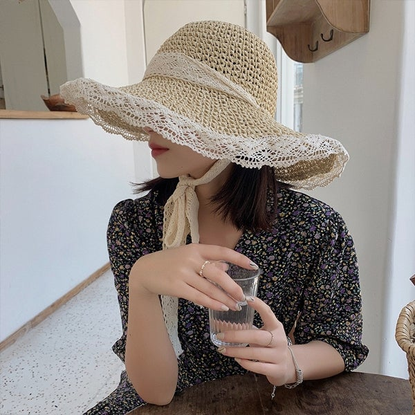 Hollow Lace Women's Small Fresh Straw Hat. Opens flyout.