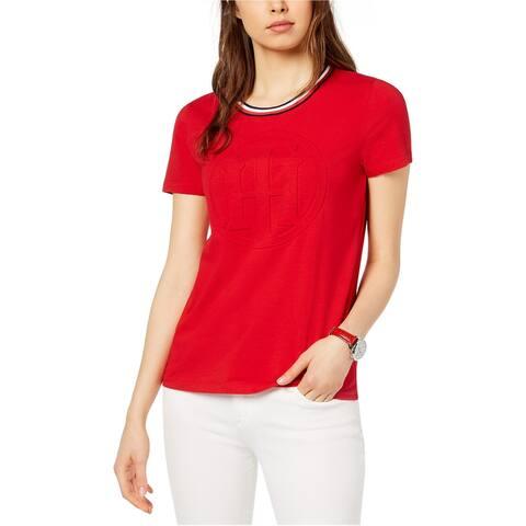 Tommy Hilfiger Womens Embossed Logo Embellished T-Shirt