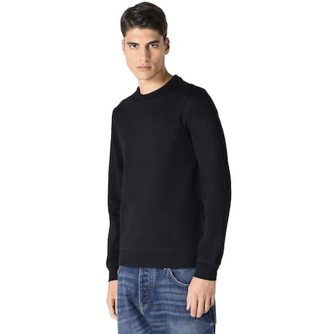 Armani Jeans Mens The Eagle Brand Logo Crewneck Sweatshirt Medium Black