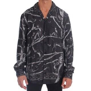 Dolce & Gabbana Dolce & Gabbana Gray Monkey Print Pajama Shirt - S