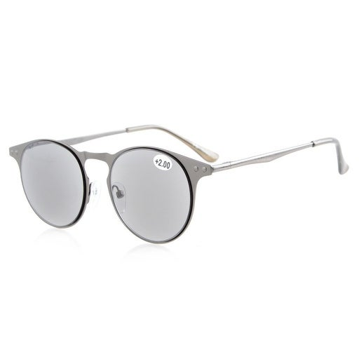 d4099fbef3f Shop Eyekepper Sun Readers Quality Metal Round Frame Spring-Hinge Temples  Reading Sunglasses Full Reading Grey Lens +0.5 - Free Shipping On Orders  Over  45 ...