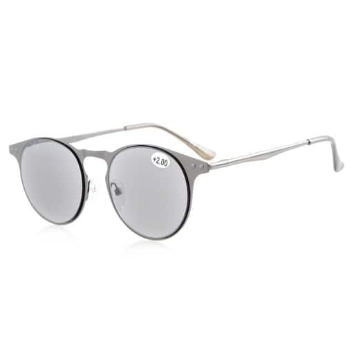 a68af59a93b Eyekepper Sun Readers Quality Metal Round Frame Spring-Hinge Temples  Reading Sunglasses Full Reading Grey ...