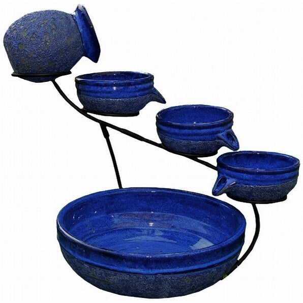 Smart Solar 4 Tier Solar Powered Cascading Fountain Blueberry Rustic Blue