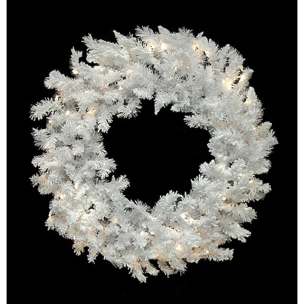 """60"""" Pre-Lit LED Flocked White Spruce Christmas Wreath - Warm Clear Lights"""