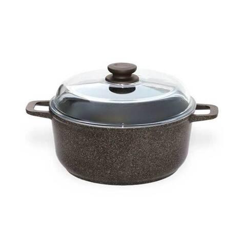 BIOL 4.2-Quart Granite Brown Non-Stick Pot w/ Glass Lid