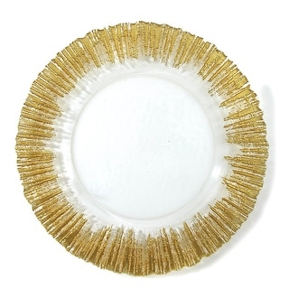 Link to Elegance Set of 4 Gold Sunburst Charger Plates Similar Items in Dinnerware