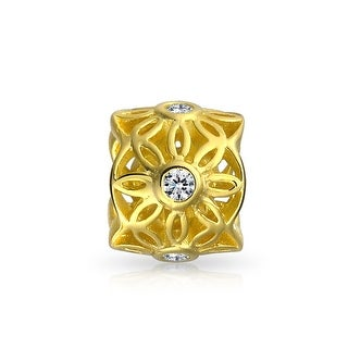Bling Jewelry Gold Plated Filigree CZ Flower Cut Out Bead Charm .925 Sterling Silver