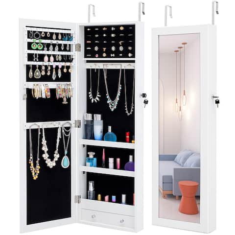 Simple Jewelry Storage Mirror Cabinet Can Be Hung On The Door Or Wall