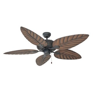 "Design House 154104 52"" 5 Blade Ceiling Fan with Leaf-Shaped Blades from the Martinique Collection - Light Kit Adaptable"
