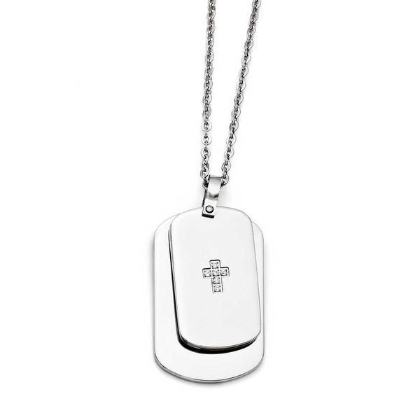 Chisel Stainless Steel Double Dogtag with CZ Cross Necklace (2 mm) - 20 in
