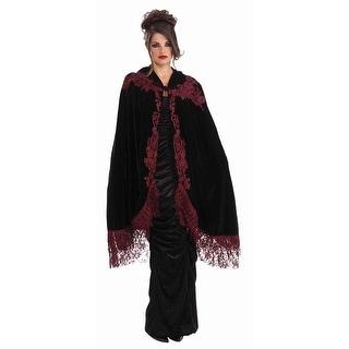 "Gothic Vampiress 45"" Velvet & Lace Victorian Costume Cape"