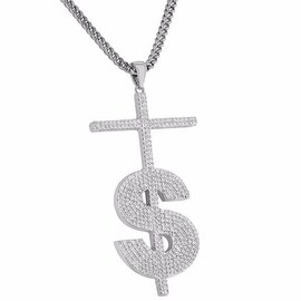 Cross Pendant Dollar Sign $ Iced Out Custom Franco Chain 18K Rhodium Finish Sale