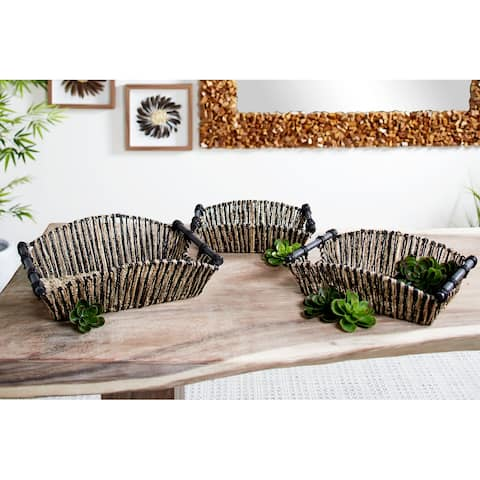 Rectangular Black and Natural Striped Palm Leaf Seagrass Basket Trays, Set of 3 19 In, 17 In, 15 In - 19 x 16 x 6