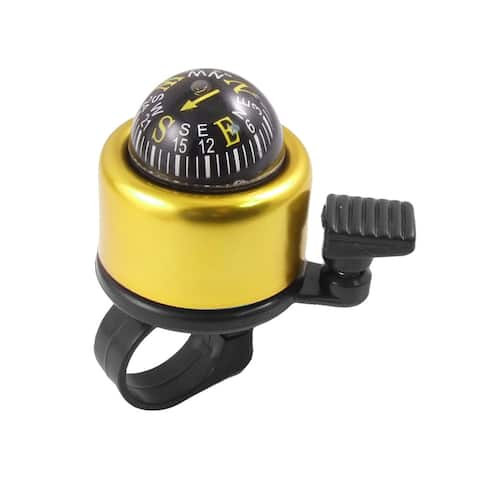 Bike Bicycle Round Compass Metal Ring Bell Gold Tone