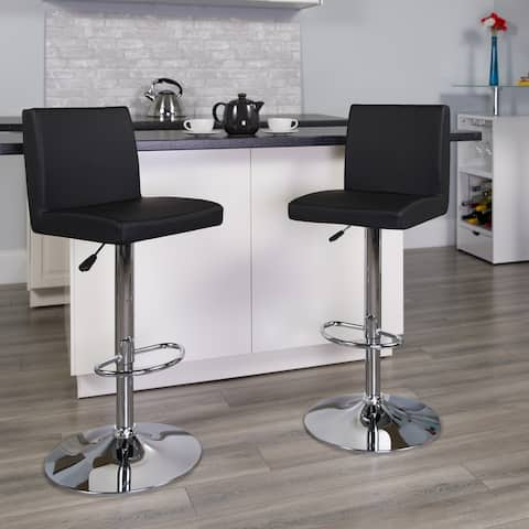 """Contemporary Vinyl Adjustable Height Barstool with Panel Back and Chrome Base - 15.25""""W x 18.5""""D x 35.25"""" - 43.75""""H"""