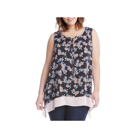 Karen Kane Womens Plus Blouse Printed Sleeveless